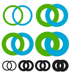 Interlocking circles rings infinite symbol or vector