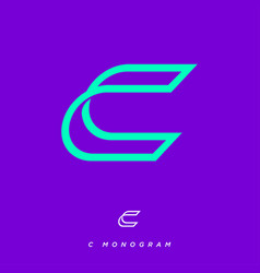 Letter c monogram consist thin lines vector
