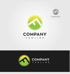 letter f mountain logo green vector image