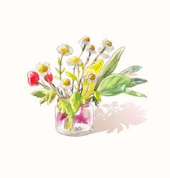 Little cute bouquet wildflowers watercolor vector