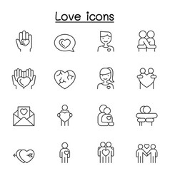 love icons set in thin line style vector image
