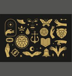 Magic and mystic design elements set vector