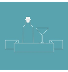 Martini glass bottle and ribbon contour vector