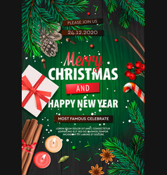 Merry christmas banner xmas party with gifts box vector