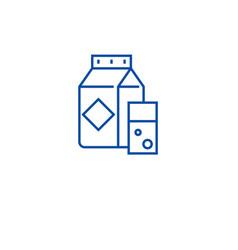 milk carton line icon concept milk carton flat vector image