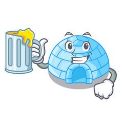 Miner igloo ice house isolated on mascot vector