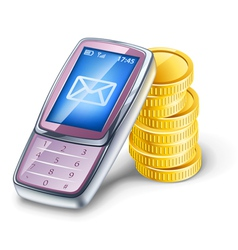 mobile phone and coins vector image