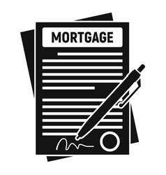 Mortgage contract paper icon simple style vector