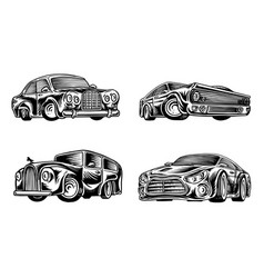 muscle cars and vintage transports for logo vector image