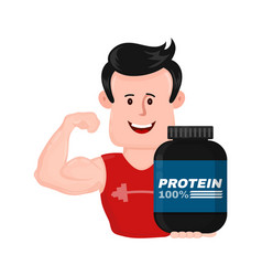 muscular strong fitness man with bank of protein vector image