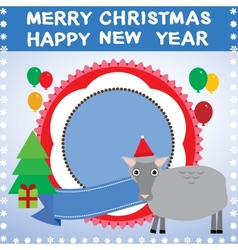 New year christmas card with sheep 2015 vector