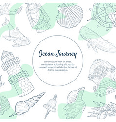 ocean journey banner template sea travel hand vector image