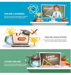 Online education horizontal banners vector