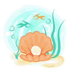 open orange sea shell with shiny pearl underwater vector image
