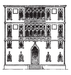 palace faade palace in venice vintage engraving vector image