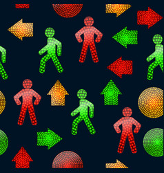pattern with pedestrian traffic lights red vector image