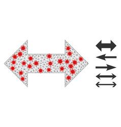 Polygonal network horizontal exchange arrows icon vector