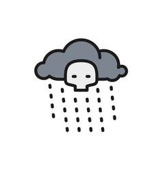 Radioactive rain flat color line icon isolated vector