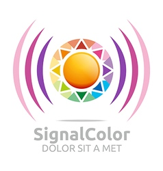 Rainbow signal colour circle symbol icon vector