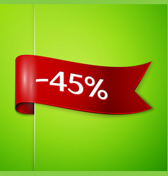 red ribbon with text forty five percent discount vector image