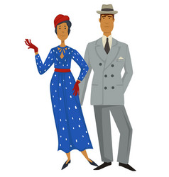 retro fashion 1930s style clothes man and woman vector image