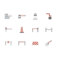 Road barricades flat color icons set vector image