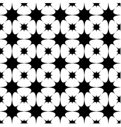Seamless black and white curved star grid pattern vector