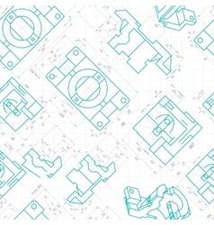 Seamless pattern engineering drawings parts vector