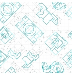 Seamless pattern of engineering drawings of parts vector