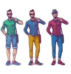 set a fashionable guy vector image