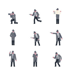 Set of mysterious man vector