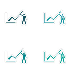 Set of stylish sticker on paper Economic graph and vector image