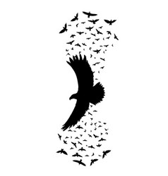 Silhouette a flying raven vector
