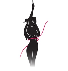 Silhouette of slender girl and ribbon vector image