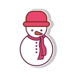 Snowman with shadow and red hat vector