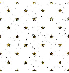 Star shape glitter gold black and white seamless vector