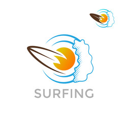 sugfing logo template on a white background sea vector image