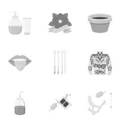 Tattoo studio set icons in monochrome style Big vector