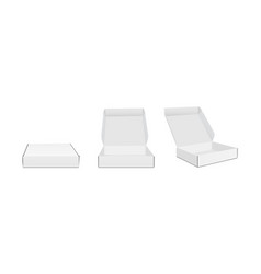 Three blank packaging boxes with various views vector
