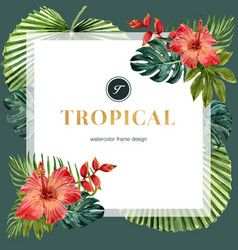 Tropical-themed frame design with hibiscus vector