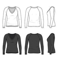V-neck tee with raglan sleeve vector