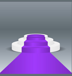 Violet carpet podium on gray background vector
