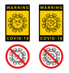 Warning covid 19 set attention sign with vector
