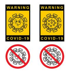 Warning covid19 19 set attention sign vector
