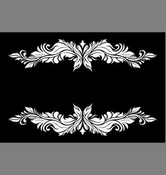 White filigree decoration set on black background vector