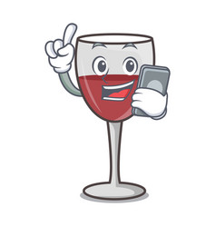 With phone wine character cartoon style vector