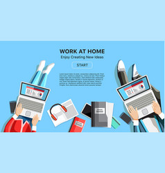Work at home business banner with people vector