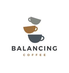 zen coffee balancing stone logo icon vector image