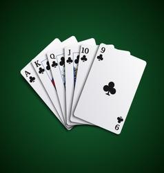 Poker cards flush acorns hand vector