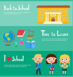school horizontal banner set with school building vector image